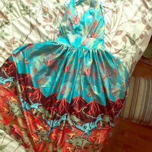 Lindy Bop Volcanic Dinosaur Halter Dress